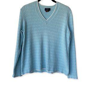 Brooks Brothers Women's Blue V Neck Sweater